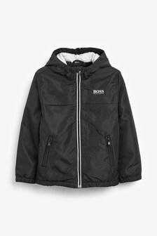Czarna kurtka z kapturem BOSS by Hugo Boss, zapinana na suwak