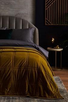 Ochre Yellow Luxurious Quilted Velvet Bedspread