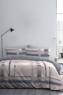 Stamford Reversible Check Duvet Cover And Pillowcase Set