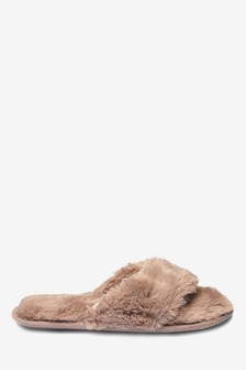 Faux Fur Toe Thong Slippers