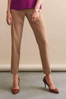 Sharkskin Texture Slim Trousers