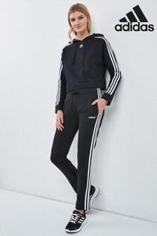 adidas Black 3 Stripe Open Hem Joggers