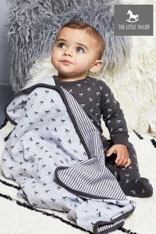 Couverture doublée en jersey à motif cheval à bascule The Little Tailor grise