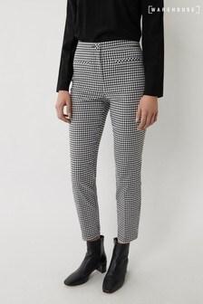 Warehouse Black Gingham Slim Leg Trousers