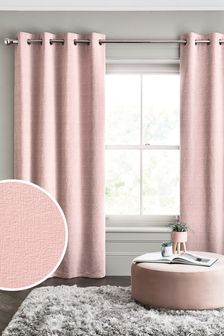 Blush Pink Heavyweight Chenille Eyelet Lined Curtains