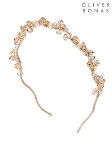 Oliver Bonas Pink Vaila Beaded Cluster Wavy Headband