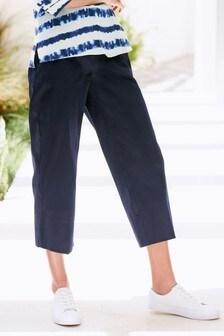 Широкие укороченные саржевые брюки
