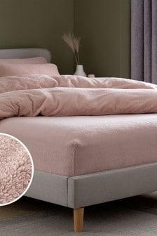Розовая флисовая натяжная простыня