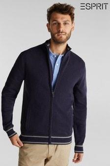סוודר ספורטיבי של Esprit עם רוכסן בצבע כחול