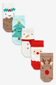 5 Pack Christmas Character Socks (Younger)
