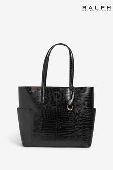 Ralph Lauren Black Mock Croc Leather Carlyle Tote Bag