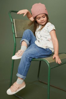 Джинсы с присборенным поясом и завязкой  (3-16 лет)