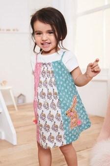 Лоскутное платье с кроликом (3 мес.-7 лет)