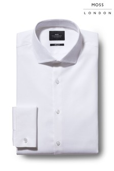 Moss London Skinny Fit White Textured Stretch Shirt