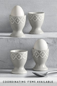 Set of 4 Geo Embossed Egg Cups