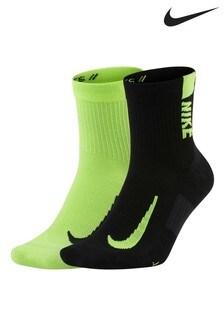 Nike Running Black/Volt Ankle Socks Two Pack
