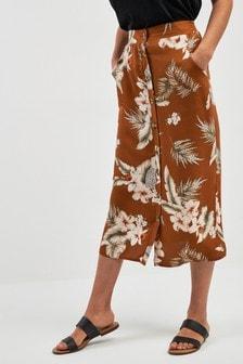 Юбка на пуговицах с тропическим принтом
