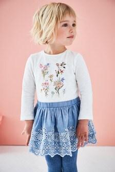 Платье с цветочной вышивкой (3 мес.-7 лет)