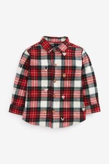 Рождественская рубашка с длинными рукавами в клетку (3 мес.-7 лет)
