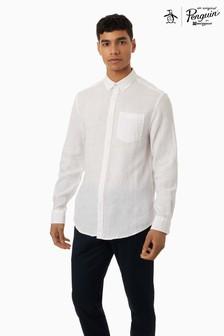 חולצת פשתן עם שרוול ארוך וסמל Pete The Penguin בחזה שלOriginal Penguin®