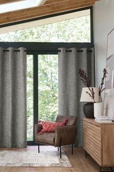 Light Grey Textured Fleck Eyelet Lined Curtains
