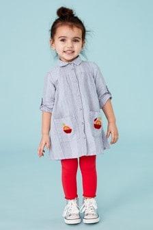 Платье-рубашка с вышитыми яблоками (3 мес.-7 лет)