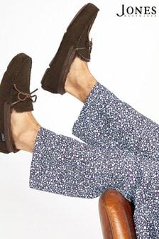 حذاء للبيت بني مبطن جلد خراف رجالي منJones Bootmaker