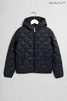 Дерная легкая дутая куртка с диагональной отстрочкой GANT