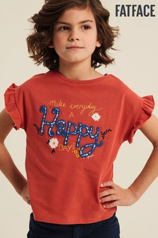 Červené tričko FatFace Make Everyday Happy