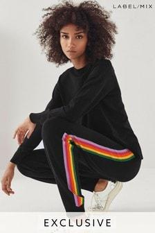 Pantalones de punto a rayas arcoíris de Mix/Madeleine Thompson