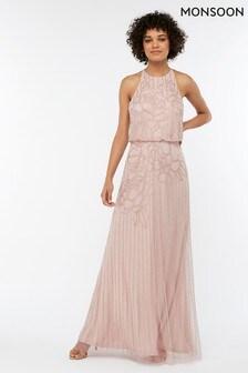 Różowa, długa sukienka ze zdobieniami Monsoon Ladies Bianca
