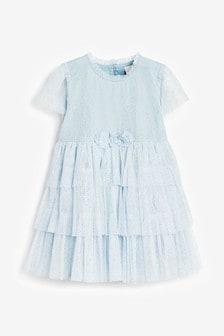 Kleid mit Netzstoff und Ansteckblume (3Monate bis 7Jahre)