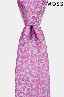 Moss 1851 Pink/Blue Floral Swirl Tie