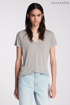 All Saints Malin T-Shirt mit Seide, Grau