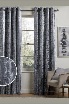 Silver Grey Animal Effect Velvet Eyelet Curtains