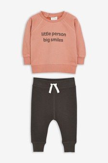 Slogan Sweatshirt And Shorts Set (0mths-2yrs)