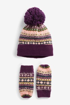 2 Piece Hat And Mitts Set (Younger)