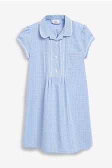 Платье свободного кроя в клетку (3-16 лет)