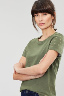 Joules Green Carley Classic Crew T-Shirt With Embroidery
