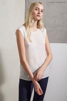 French Connection Polly Plains T-Shirt mit Flügelärmeln, weiß