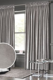 Plush Velvet Pencil Pleat Lined Heavyweight Curtains