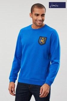 Bluză la baza gâtului Joules Darmouth albastru cu emblemă