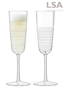 Set of 2 LSA International Groove Champagne Flutes