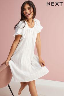 Square Neck Ruffle Cotton Nightdress