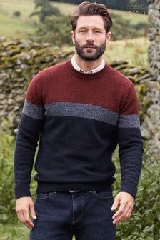 Джемпер в стиле цветных блоков из смесовой пряжи с овечьей шерстью с круглым вырезом горловины