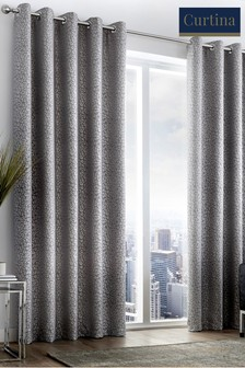 Curtina Leopard Jacquard Lined Eyelet Curtains