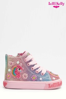 Lelli Kelly Unicorn Pink Glitter High Top Trainers