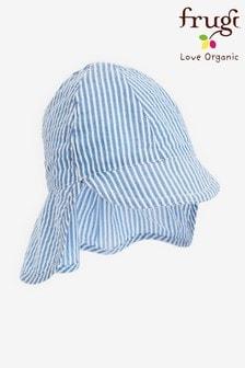 Frugi オーガニックコットン ブルー ストライプ日よけ付き帽子