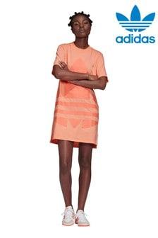 فستان تي شيرت شعار كبير مرجاني من adidas Originals