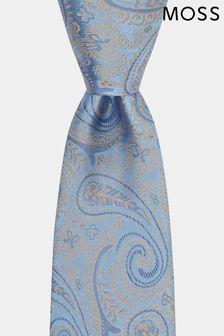 Moss 1851 Krawatte mit Paisleymuster, Sky/Gold